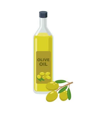 Olive oil bottle and olives on branch in flat design vector illustration isolated on white background. Olive oil icon. Illustration