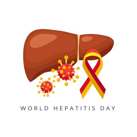 World hepatitis day, liver and Viral hepatitis, viruses - vector illustration isolated on white background.