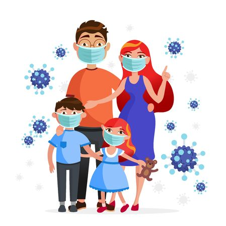 Family wearing protective medical masks to prevention from coronavirus Covid-19. Mother, father, son and daughter in masks concept characters and viruses around, flat illustration, healthcare topic. Ilustração