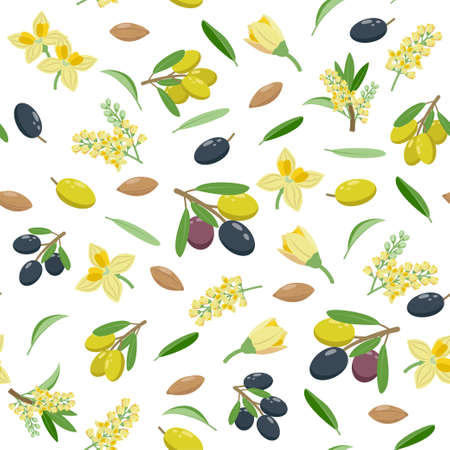 Olives seamless pattern in flat design, set of vector illustrations isolated on white background. Olive fruits, blossom, leaves, olive branches.