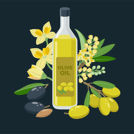 Extra virgin olive oil bottle and olives, flowers, olive fruits composed around - vector banner illustration in flat design.