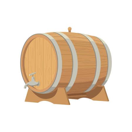 Wine barrel. Grape product, vector illustration isolated on white background. Ilustração Vetorial