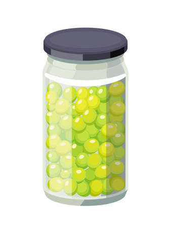 Grapes preserved in glass jar. Grape product, vector illustration isolated on white background.