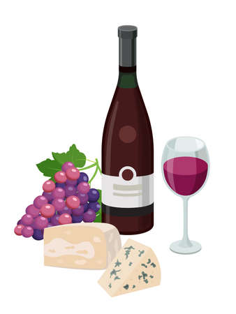 Bottle of red wine and wineglass with cheese and grape. Grape product, vector illustration isolated on white background. Illusztráció