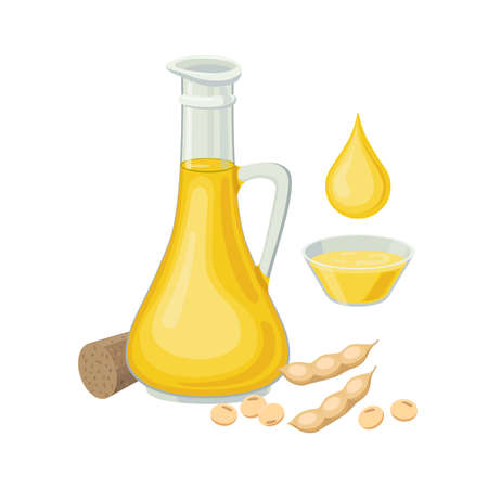 Soybean oil in glass bottle, soy beans pod, drop of oil and bowl with soybean oil. Soybean products - vector illustration isolated on white background. Illusztráció