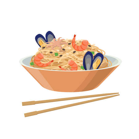 Soy noodles with seafood, mussels ans shrimps. Soybean product - vector illustration isolated on white background. Illusztráció