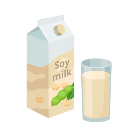 Soy milk package and soy milk in glass. Soybean product - vector illustration isolated on white background.