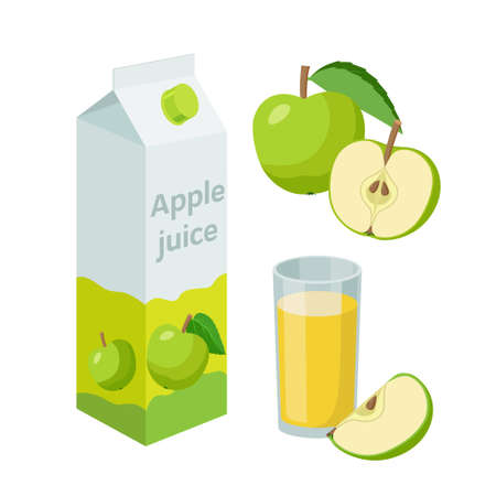 Apple juice in packaging and fresh whole and halved apples, glass of apple juice. Vector illustration in flat design. Apple drink.