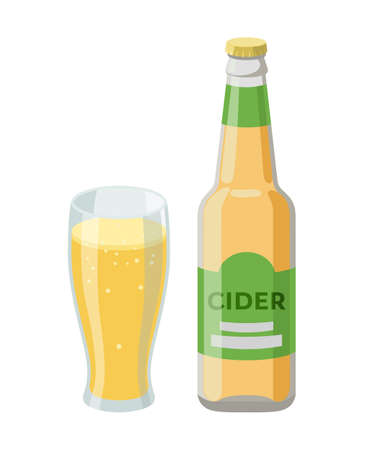 Bottle of cider and glass with cider, beer - vector illustration in flat design isolated on white background. Drink made from apples. Illusztráció