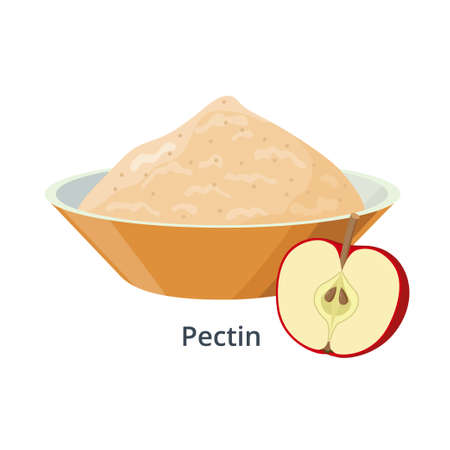 Pectin in bowl - vector illustration isolated on white background. Apple product and halved red apple. Illusztráció