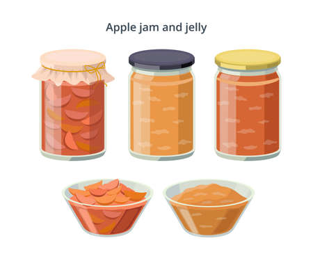 Apple jam and jelly in jars and bowls isolated on white background. Food made from apples. Vector illustration in flat design.