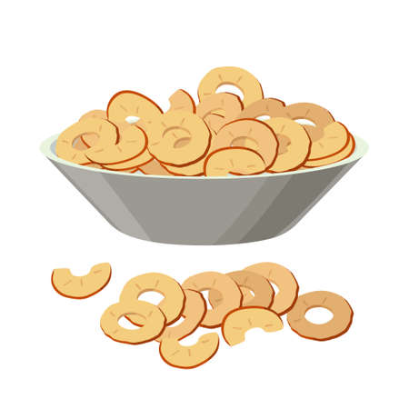 Dried apples, apple slices in bowl, pile of dry apples in flat design isolated on white backgtound.