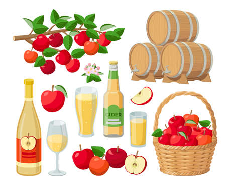 Cider set, red apples, bottles of cider, barrels, apples in basket, on branch with leaves. Apple harvest decorative elements, vector illustration set in flat design isolated on white background.