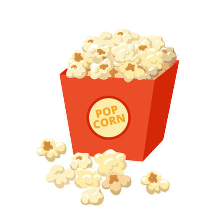 Popcorn vector illustration in flat design isolated on white background Illusztráció