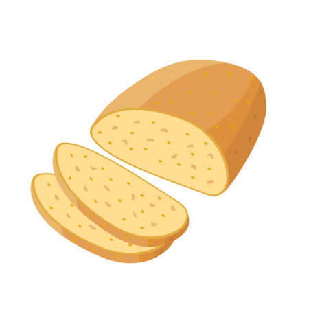 Corn wheat bread whole and pieces of bread - vector illustration in flat design isolated on white background Illusztráció