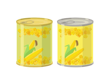 Canned corn grains - vector illustration in flat design isolated on white background