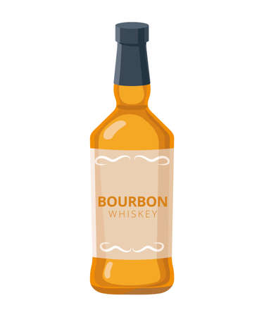 Bourbon whiskey bottle - vector illustration in flat design isolated on white background