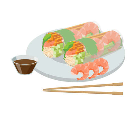 Rice paper roll, nems. Rolls in rice paper with shrimps and soy sauce with chopsticks. Asian food concept. Vector illustration isolated on white background. Illusztráció
