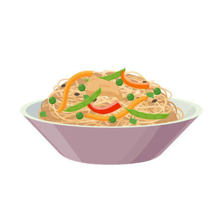 Rice noodles with pepper, meat and peas, isolated on white background. Vector illustration in flat design.