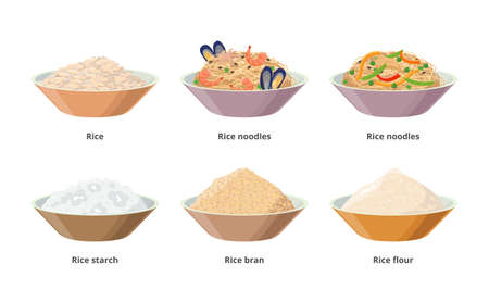 Rice food in bowls, rice noodles, starch, flour, bran, grains. vector icon rice product set isolated on white background. Illusztráció