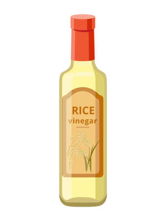Glass rice vinegar bottle isolated on white background. Vector illustration isolated on white background.