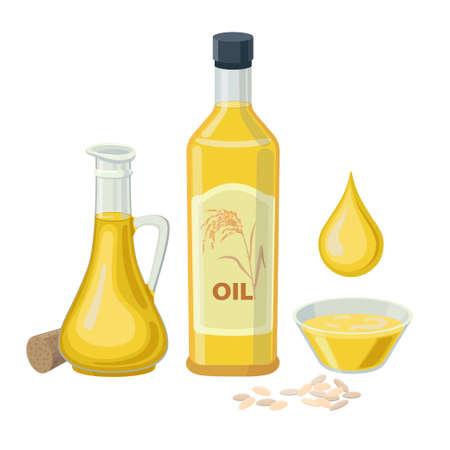 Rice oil in glass bottles isolated on white background. Vector illustration of Rice bran oil in glass bowl, bottle and jug with oil drop.