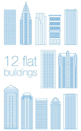Set of flat buildings in the capitals of the world