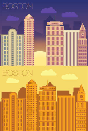 vector skyline of famous buildings of Boston