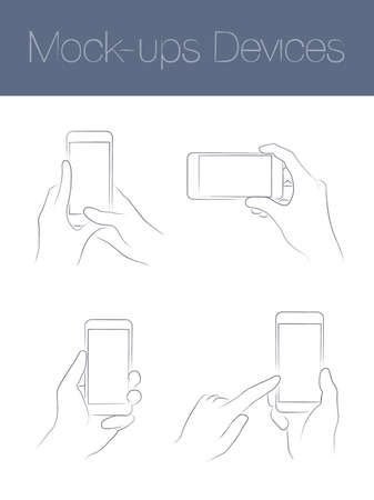 mobile devices: set of simple linear mockups mobile devices Illustration