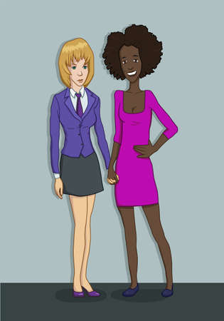 lesbian: two girls hold each others hands in the office