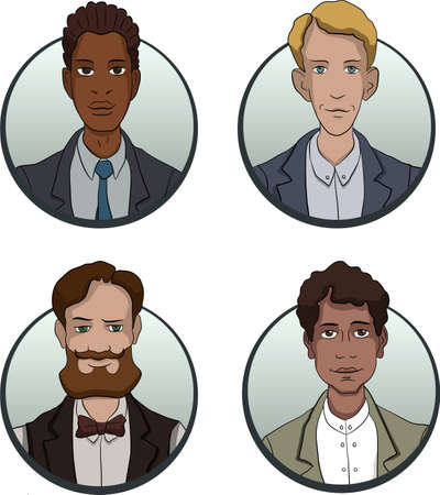 office team: avatars of persons of different nationalities are multiethnic images of people