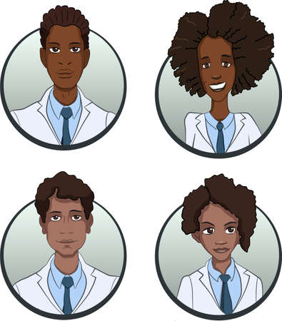teamwork cartoon: Circle doctors team icons set in flat style