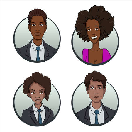 business team: Circle business team icons set in flat style
