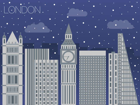 london night: colorful flat style panorama of the metropolis - the appearance of the big city for the background of games