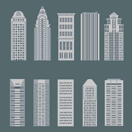 architecture bungalow: Monochromatic color house great cities of the world Illustration