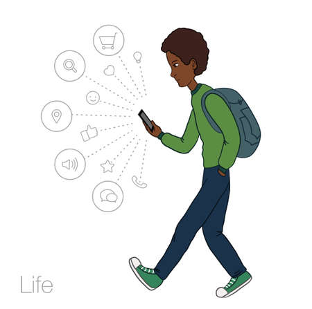 ramble: walking guy with a mobile phone