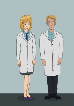 The team of doctors in white coats - a man and a woman in full growth