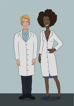 white coats: The team of doctors in white coats - a man and a woman in full growth