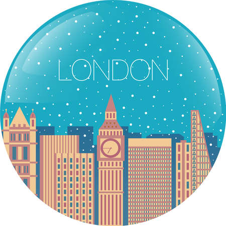 london night: Snow globe with city inside - Falling snow on buildings - London