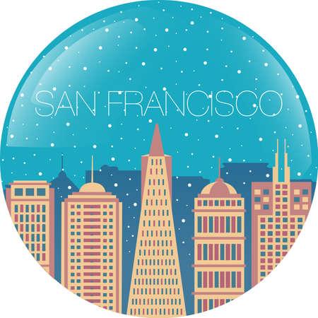 市内 - 建物 - San Francisco に落ちる雪と雪の世界  イラスト・ベクター素材