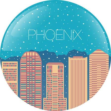 ave fenix: Globo de la nieve con la ciudad en el interior - La caída de nieve en edificios - Phoenix