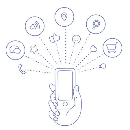online service: A set of line drawings of hands with smartphones - Internet technologies in the smartphone - Online services in the smartphone