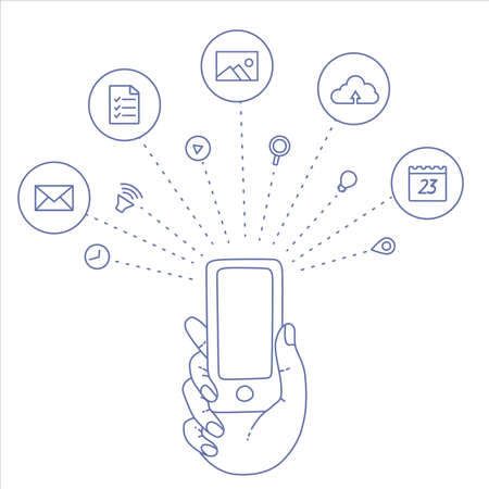 geolocation: A set of line drawings of hands with smartphones - Internet technologies in the smartphone - Online services in the smartphone - entertainment and business via cloud technologies
