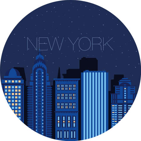 window view: Night city view from the window - the starry sky in a large American city - New York Illustration