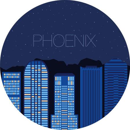 ave fenix: Vista nocturna de la ciudad desde la ventana - el cielo estrellado en una gran ciudad de Estados Unidos - Phoenix Vectores