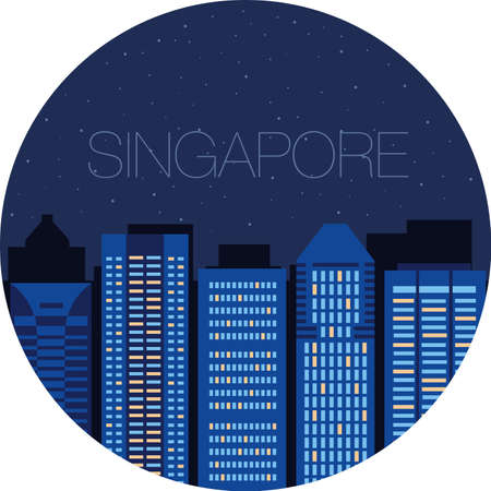window view: Night city view from the window - the starry sky in a large American city - Singapore Illustration