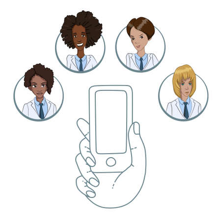 patients: Communication doctors and patients through the smartphone Illustration