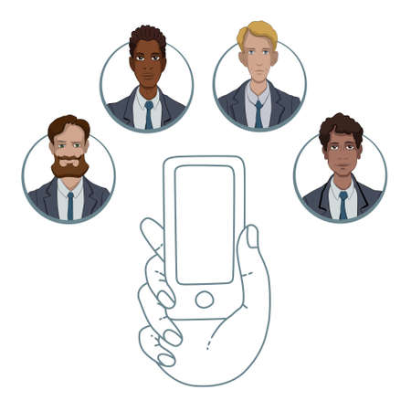 multinational: Communication managers and business analysts through the smartphone Illustration