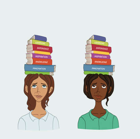 Woman with stack of books on his head Illustration