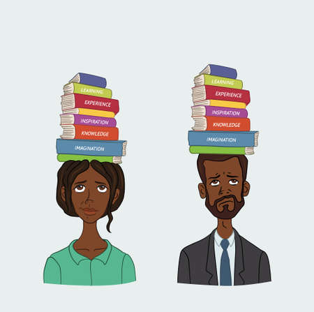 thesis: People with stack of books on his head
